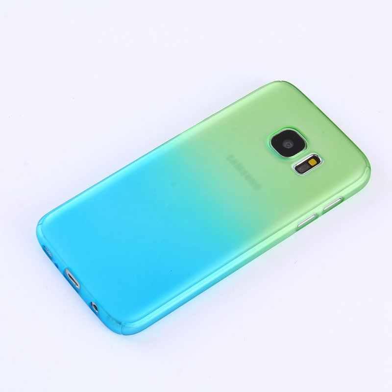 Green/Blue Gradient Color 360° Full Protection Cover Case With Tempered Glass for Samsung Galaxy 7