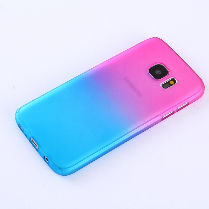 Rose/Blue Gradient Color 360° Full Protection Cover Case With Tempered Glass for Samsung Galaxy 7