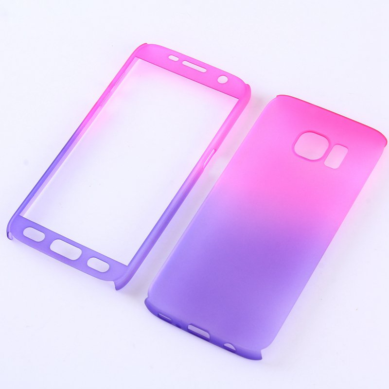 Rose/Purple Gradient Color 360° Full Protection Cover Case With Tempered Glass for Samsung Galaxy 7