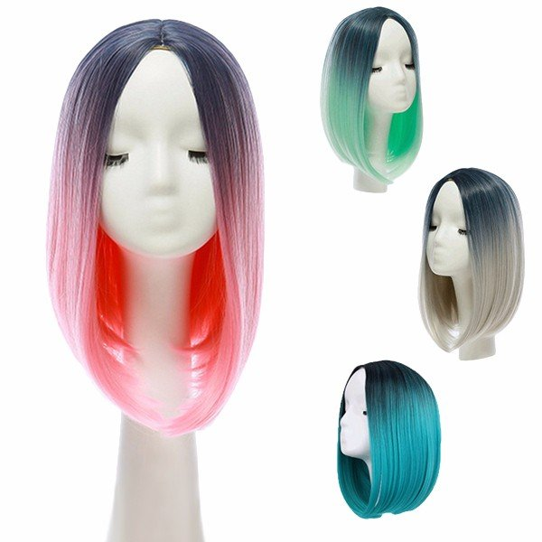 "14"" Heat Resistant Synthetic Gradient Color Hair Wig Ombre Medium Long Straight Silk Lace Blue/Pink"