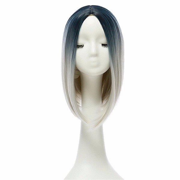 """14"""" Heat Resistant Synthetic Gradient Color Hair Wig Ombre Medium Long Straight Silk Lace: Blue/Grey"""