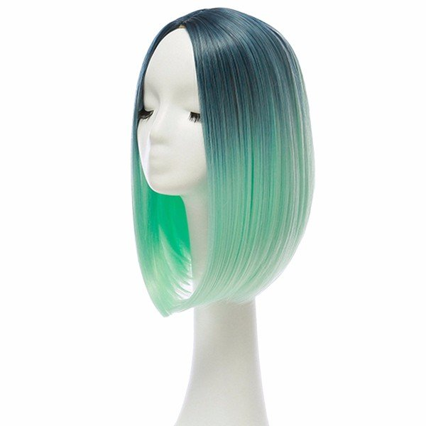 "14"" Heat Resistant Synthetic Hair Ombre Medium Long Straight Silk Lace Wig: Blue/Light Green"