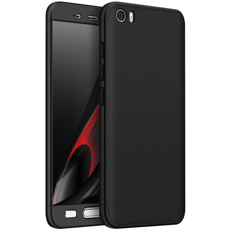 Three Sections 360 Degree Full Body Protective Case Cover For Xiaomi Mi5: BLACK