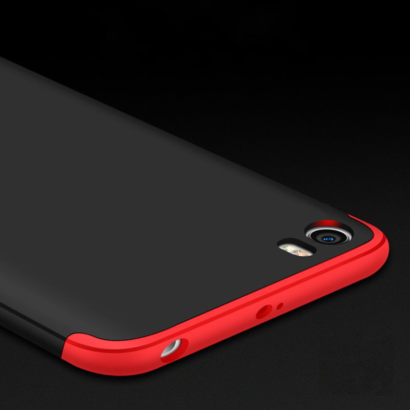 Three Sections 360 Degree Full Body Protective Case Cover For Xiaomi Mi5: Red/Black