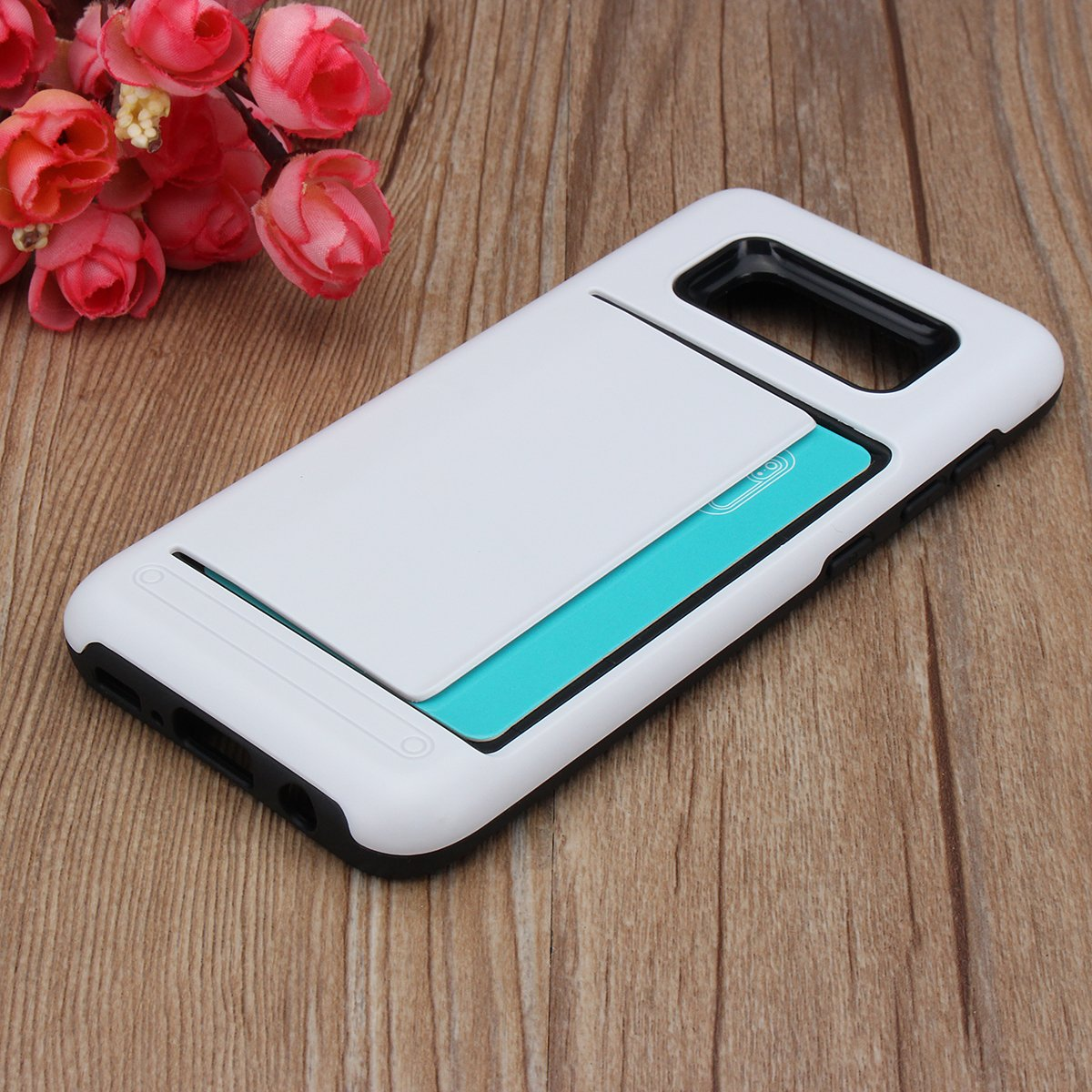 TPU+PC Hybrid Card-slots Shockproof Armor Cover Case For Samsung Galaxy S8 Plus:White