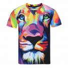 Men's Fashion Casual 3D Dog Print Short Sleeve T-Shirt Loose Soft Comfortable T-Shirt -Large