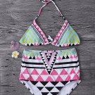 Women 2 Piece Geometric Folk Style Printing Halter Backless High Waist Wireless Bikini:Large