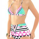 Women 2 Piece Geometric Folk Style Printing Halter Backless High Waist Wireless Bikini:XL