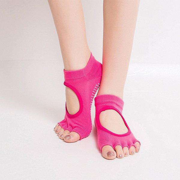Women Half Cotton Anti-Slip Peep Toe Non-Slip Half Toe Ankle Yoga Socks:Rose