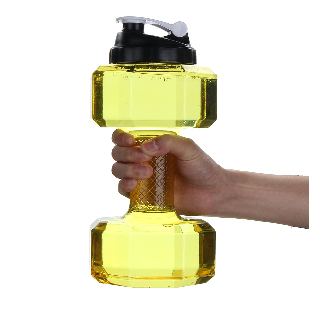 2.2L Portable Water Bottle Sports Travel Dumbbell Yellow