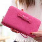 Universal 5.5 inch Butterfly Knot Functional Phone Wallet Case Cover for Xiaomi Samsung Huawei Rose