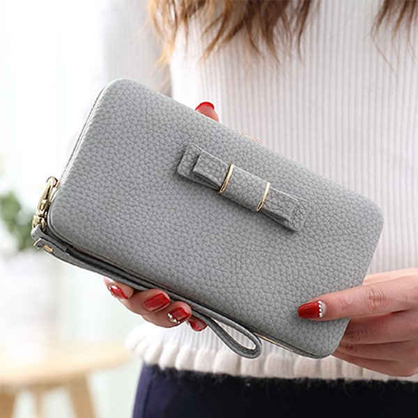 Universal 5.5 inch Butterfly Knot Functional Phone Wallet Case Cover for Samsung iPhone Dark Grey