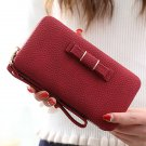 Universal 5.5 inch Butterfly Knot Functional Phone Wallet Case Cover for Samsung iPhone Dark Red