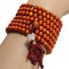 Unisex 6mm Multilayer Sandalwood Buddha Prayer Beads Bracelet Necklace Oramge