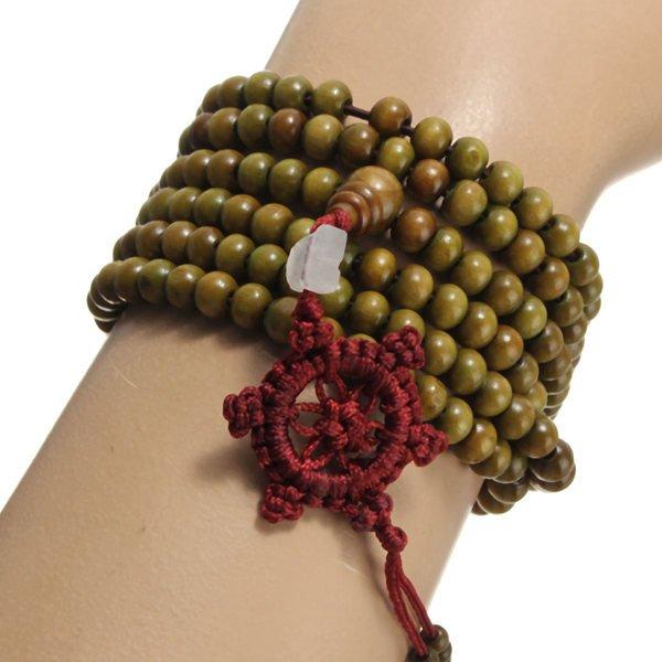 Unisex 6mm Multilayer Sandalwood Buddha Prayer Beads Bracelet Necklace Green