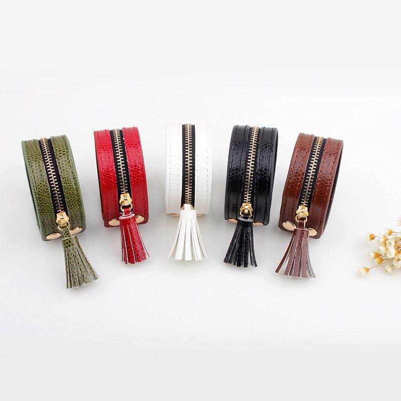 Women Leather Zipper Wide Tassel Black Bracelet