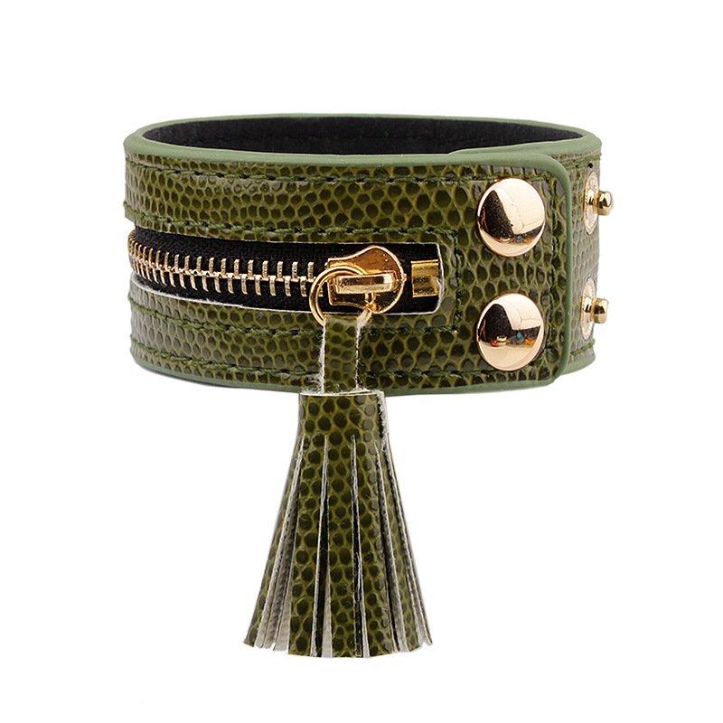 Women Leather Zipper Wide Tassel Green Bracelet