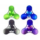 Starry Tri Rotating Fidget Hand Spinner ADHD Autism Fingertips Stress Black