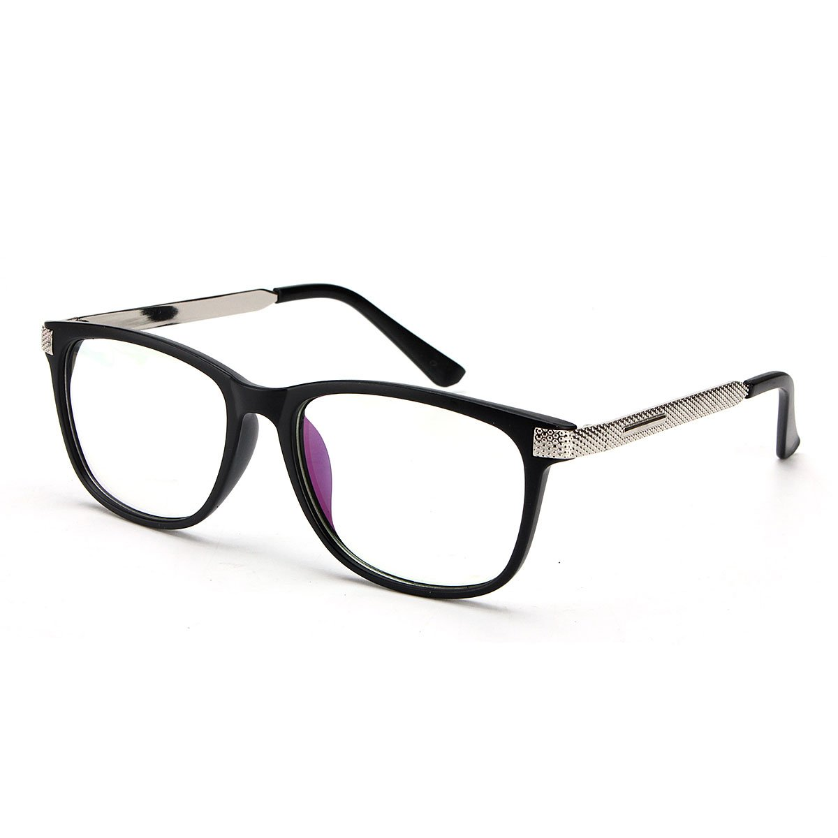 Unisex Women Men Retro Full-Rim Frame Clear Lens Metal Plain Glasses Black