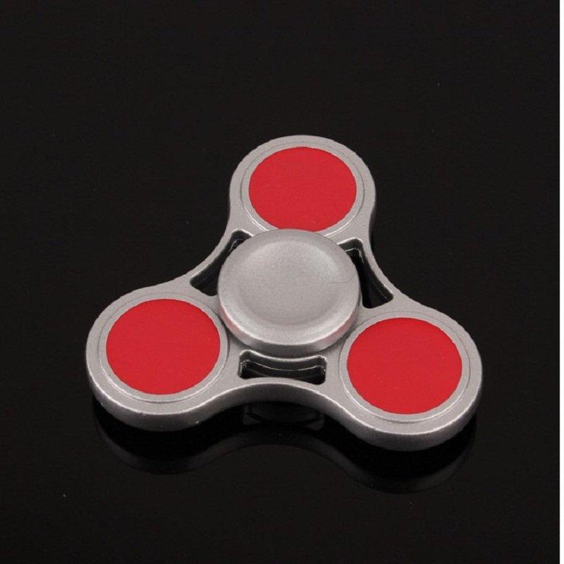 Zinc Alloy Rotating Hand Fidget Spinner Silver /Red