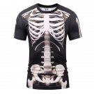 Men's 3D Digital Print Round Neck Short Sleeve Bone T-shirt Large