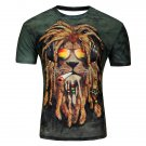 Lion Head 3D Printed Men's Short Sleeve T-shirt Large