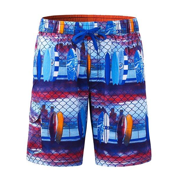 Mens Printing Casual Drawstring Swim Beach Shorts Blue Large