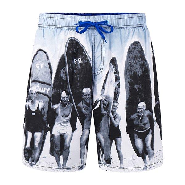 Mens Printing Casual Drawstring Loose Beach Shorts Gray Medium