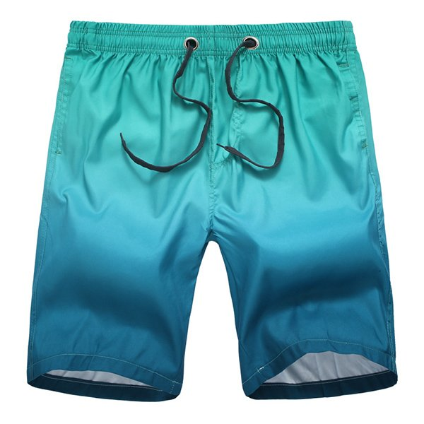 Men Surf Swim Gradient Color Printing Quick-drying Loose Beach Shorts Blue Medium