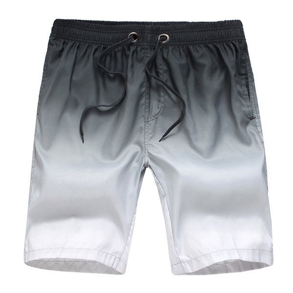 Men Surf Swim Gradient Color Printing Quick-drying Loose Beach Shorts White Medium