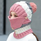 Women Winter Windproof Warm Crochet Knit Hat Scarf Set with Face Ski Mask :Pink