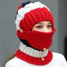 Women Winter Windproof Warm Crochet Knit Hat Scarf Set with Face Ski Mask :Red