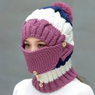 Women Winter Windproof Warm Crochet Knit Hat Scarf Set with Face Ski Mask :Purple