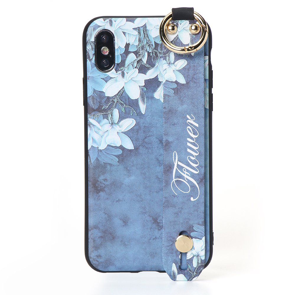 Vintage Flower Pattern Strap Ring Grip Stand Protective Case For iPhone 7/8 -Blue