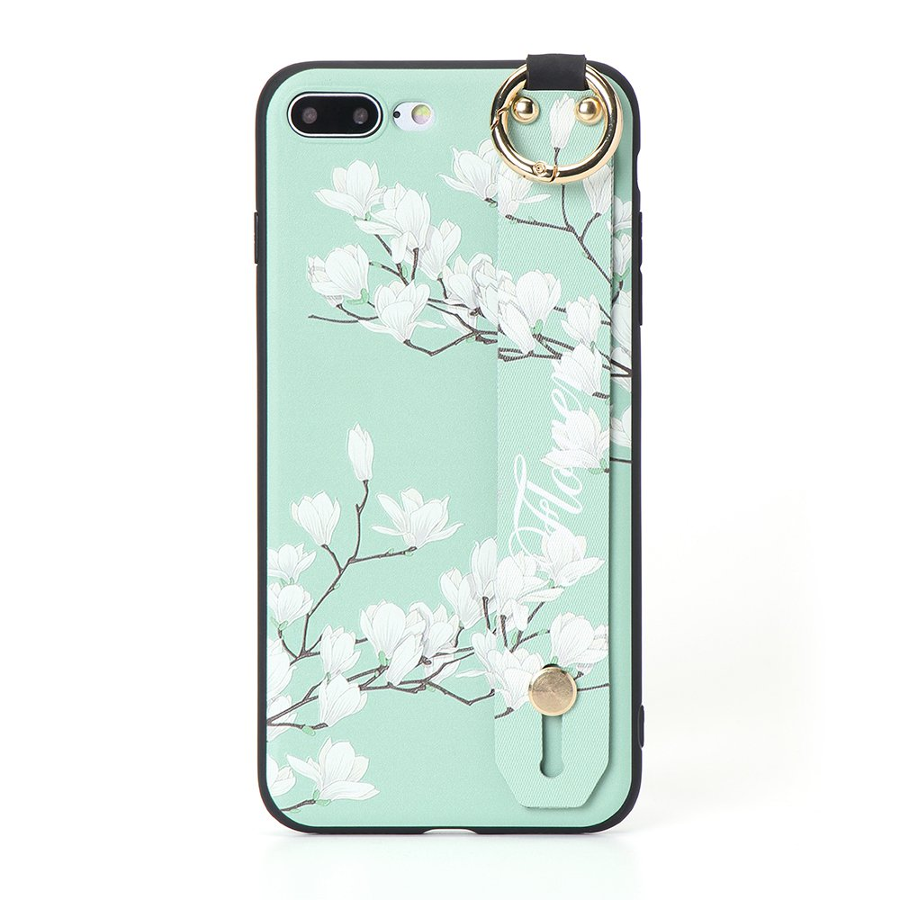Vintage Flower Pattern Strap Ring Grip Stand Protective Case For iPhone 6/6s -Green