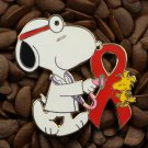 Red Ribbon Pins Peanuts Doctor Pin Snoopy & Woodstock