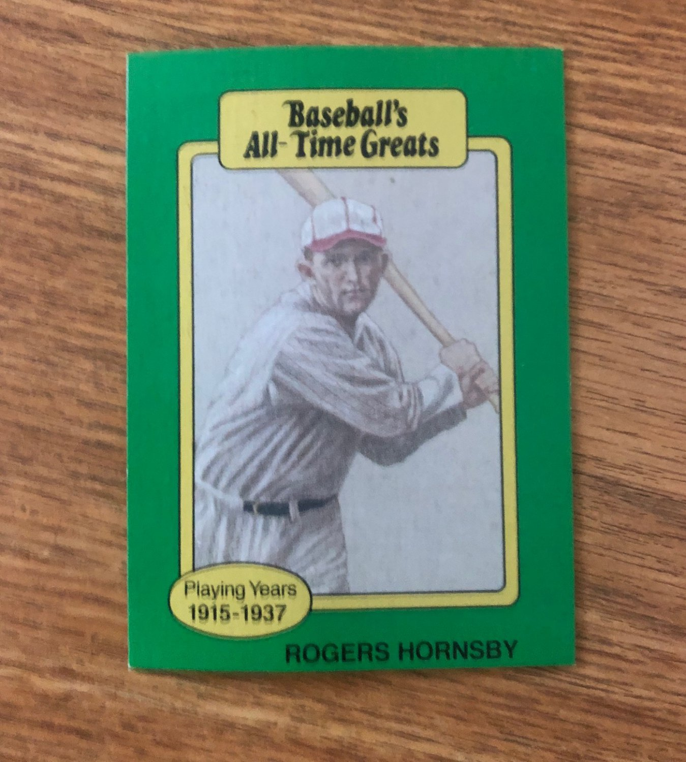 Rogers Hornsby Baseball Card (St. Louis Cardinals) 1987 Hygrade All Time Greats - FREE SHIPPING