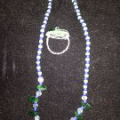 beaded necklace free green wired ring
