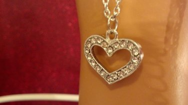 """Heart shaped silver tone pendant faux diamonds 18"""" chain, Every Day gifts"""
