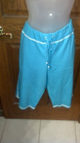 Ladies' Capri pants, Medium Aqua, Large
