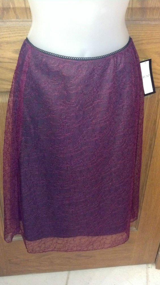 Ladies Skirt, LaBelle Fashions, Dark Plum, Black under-skirt, Lace over-skirt Size 13