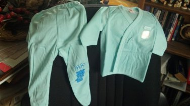 """Kitty"" Infant pajamas with footies, Blue, two piece, long sleeves 0-3 month sizing"