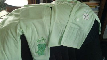 """""""Kitty"""" Infant pajamas with footies, Green, two piece, long sleeves 0-3 month sizing"""