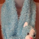 Plush 3-D Character Scarf by Angelina, Blue Bear, Childrens, girls