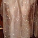 Sheer Ladies Scarf by N.B.C., Elegant, Embroidered with Sequins, Light Gray
