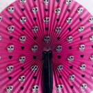 Paper Fans, Pink Pirate girl skull w/pink mob cap, Punk, Gothic