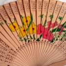 Fans, Wooden, Floral, Hand Held, lace-like carving