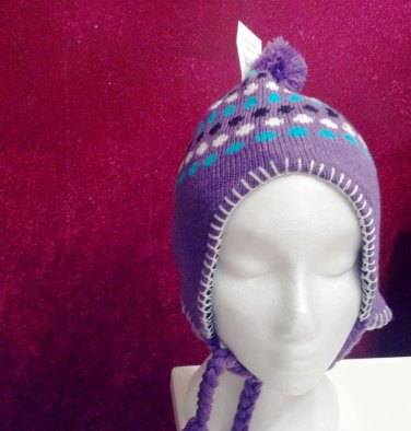 Girl's knitted winter hat by Solid Wing, color: purple, braided ties with tassel, pompom