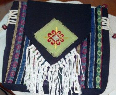 Free Spirit  purse, Coal Black, Cross body with multicolor stripes