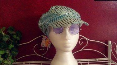Sunglasses, round Purple lenses, gold metal frame, unisex